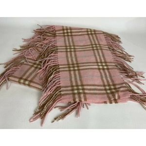 Burberry London Scarf 100% Cashmere Pink Tan Check